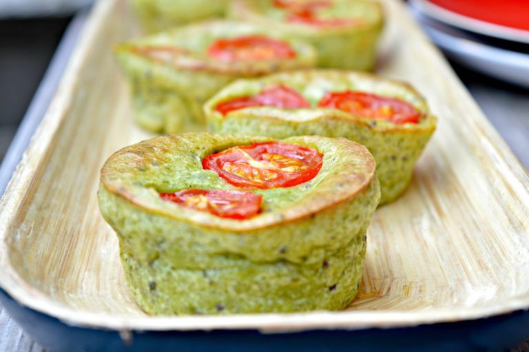 Cherry Tomato & Cream Cheese Spinach Muffins