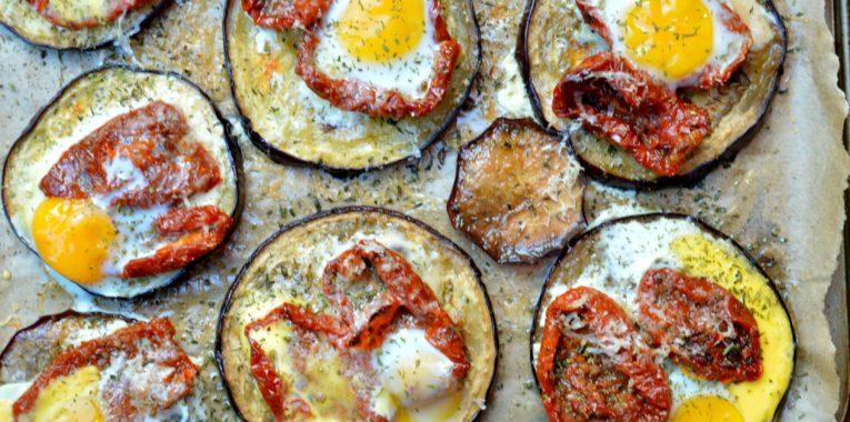 Quail Egg Eggplant Pizzas