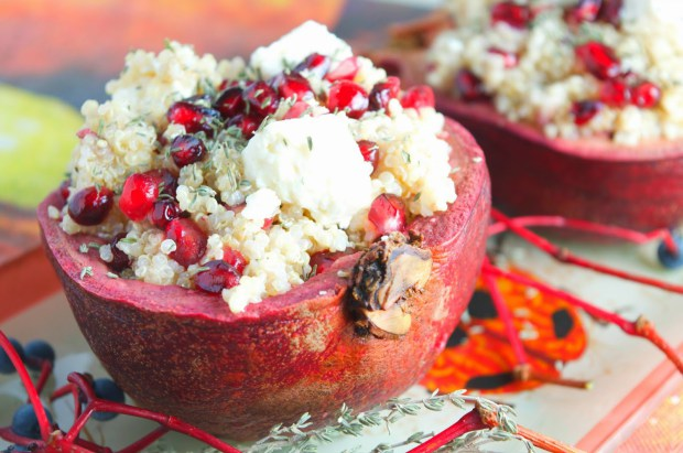 Stuffed Pomegranate with Quinoa & Feta Cheese Salad