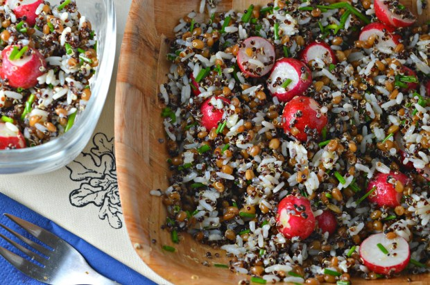 Black Quinoa, Farro & Rice Salad with Radishes