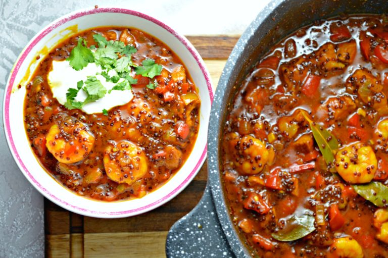 Shrimp & Red Quinoa Casserole
