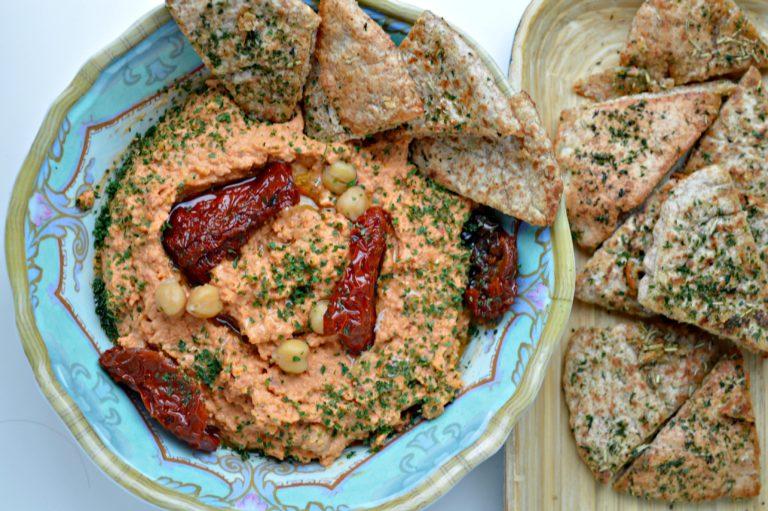 MM: Sun-Dried Tomato Hummus with Homemade Pita Chips
