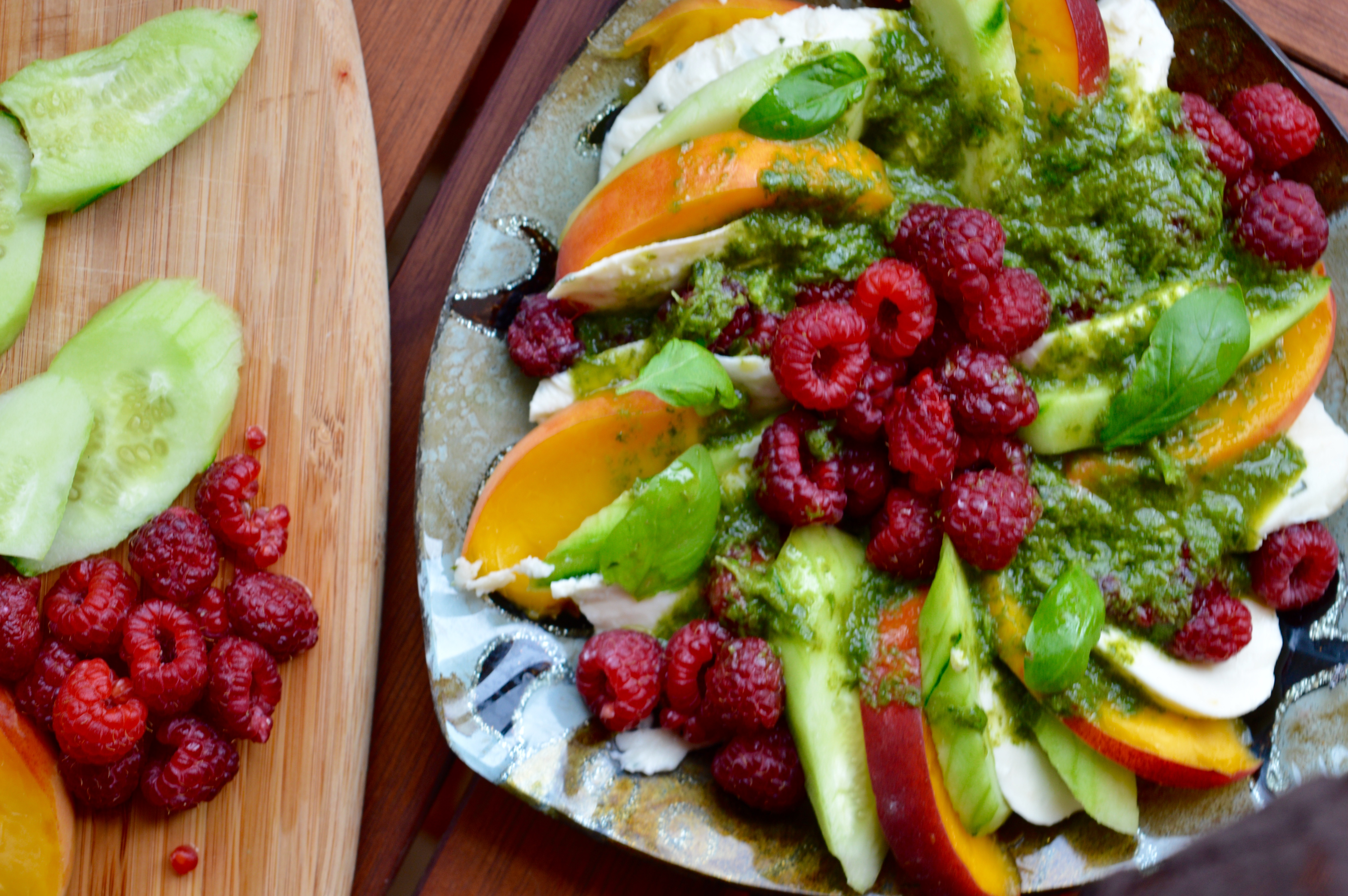 MM: Raspberry & Peach Salad