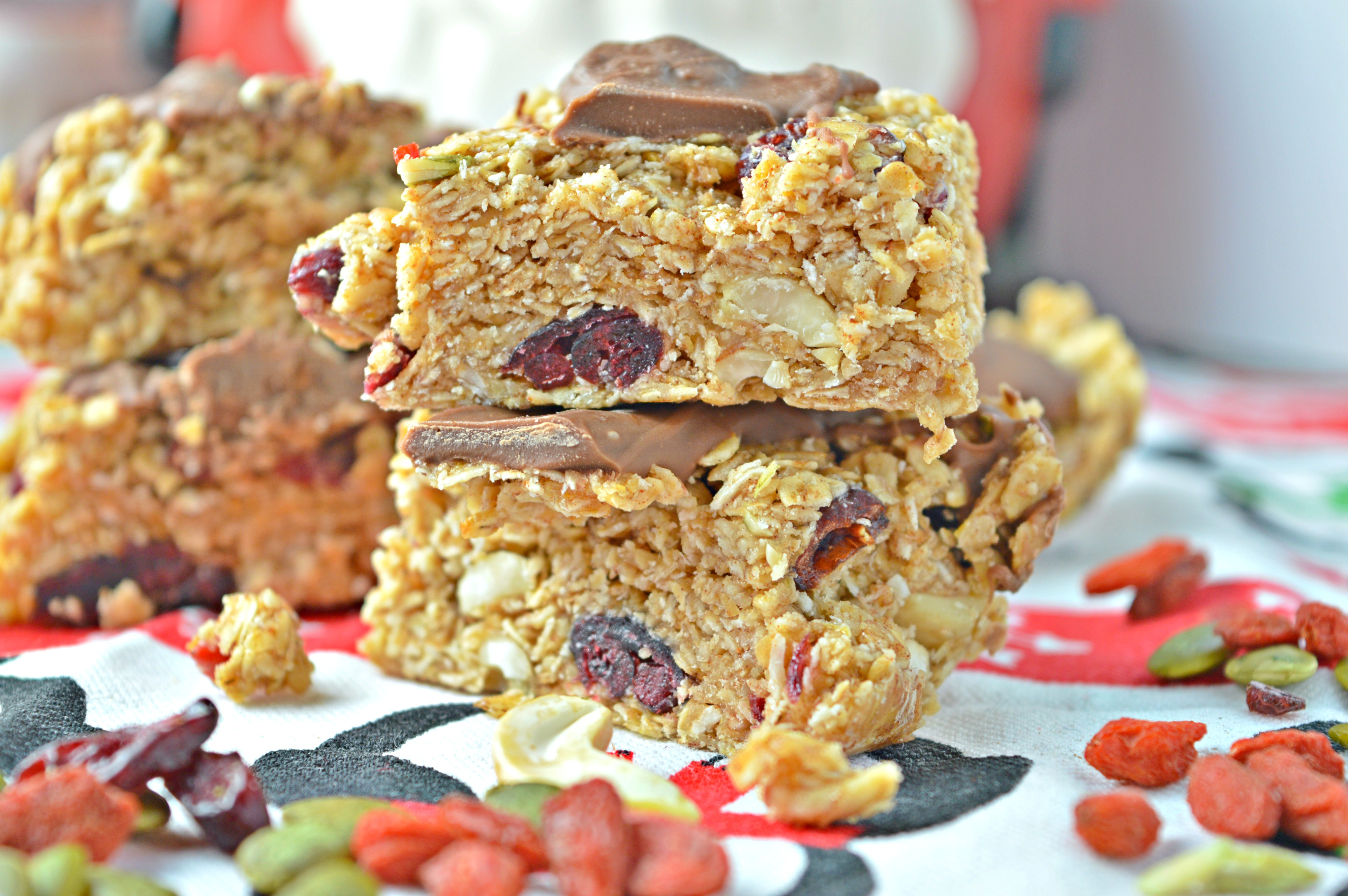 Milk Chocolate Flapjack with Goji Berry, Cranberries & Seeds